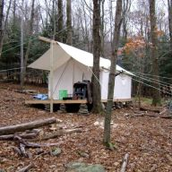 Once the tent was in place, I built a ridge pole over which to hang the fly.