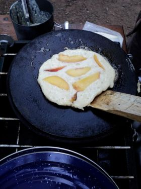 Fresh peach pancakes